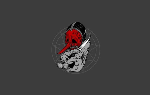 Картинка брызги, тело, маска, нож, ужас, slipknot, зародыш