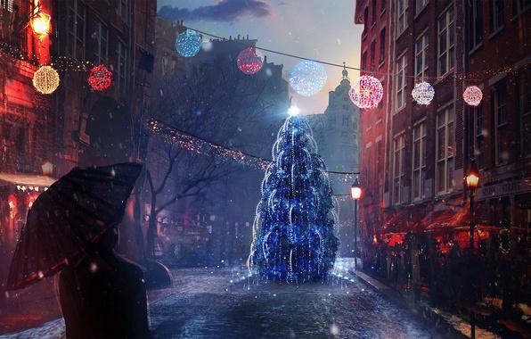 Картинка снег, настроение, праздник, улица, человек, елка, новый год, рождество, вечер, арт