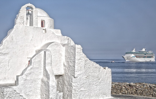 Картинка море, небо, корабль, Греция, церковь, лайнер, остров Миконос