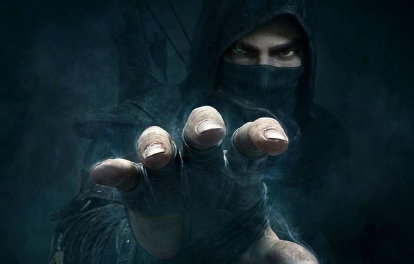 Картинка взгляд, туман, рука, лого, капюшон, стрелы, вор, Eidos Interactive, Thief, Garrett, Eidos Montreal, (2014) Гаррет