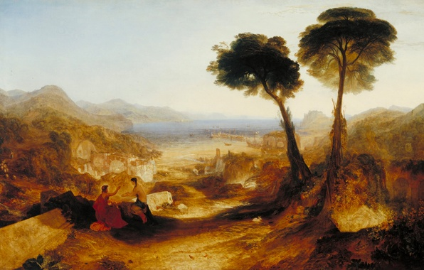 Картинка море, деревья, пейзаж, горы, люди, картина, залив, миф, Уильям Тёрнер, with Apollo and the Sibyl, …