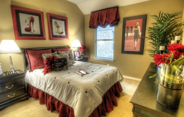 Картинка дизайн, стиль, комната, модель, мебель, кровать, интерьер, картина, подушки, туфли, мода, new york, бордовый цвет