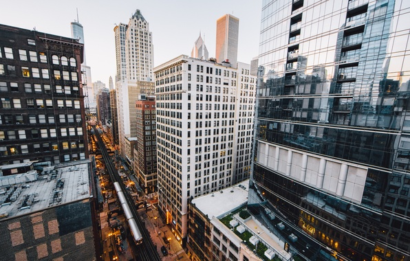 Картинка город, вечер, Чикаго, США
