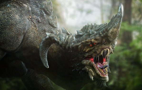 Картинка глаза, фантастика, дракон, зубы, голова, клыки, рога, darok