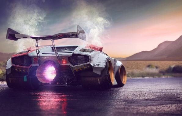 Картинка Concept, Lamborghini, Fire, Power, Jet, Countach, Engine, by Typerulez