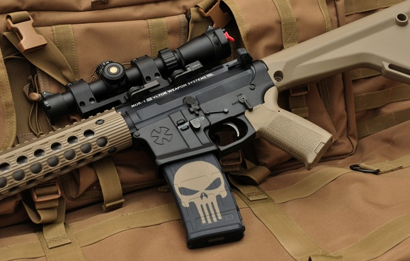 Картинка оружие, череп, автомат, оптика, каратель, assault rifle, штурмовая винтовка, punisher