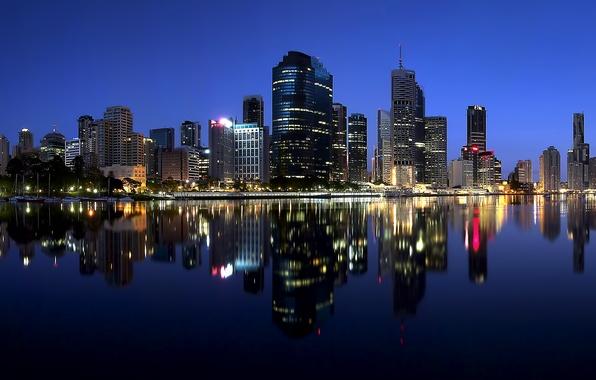Картинка ночь, огни, отражение, река, небоскребы, подсветка, Австралия, мегаполис, Australia, Queensland, штат Квинсленд, Брисбен, Brisbane City