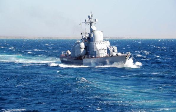 Картинка море, корабль, катер, флот, синее, красивый, ракетный, ход.