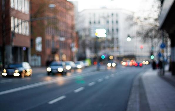 Картинка дорога, свет, город, огни, движение, улица, фары, здания, трасса, Прага, автомобили, боке, жизнь.