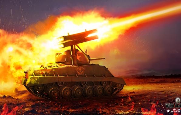Картинка ночь, огонь, пламя, рисунок, арт, искры, залп, установка, World of Tanks, Sherman, ракетная, Nikita Bolyakov, …