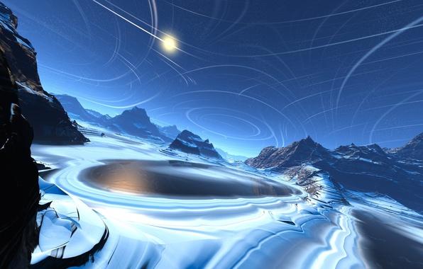 Картинка холод, лед, вода, линии, озеро, скалы, арт