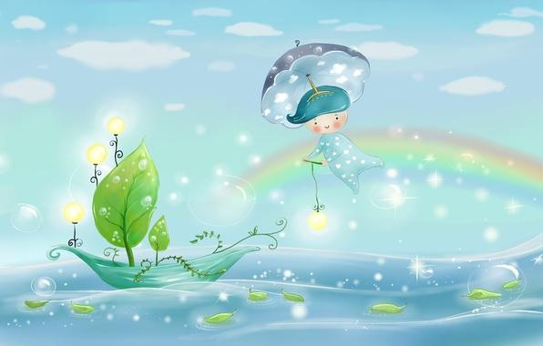 Картинка море, небо, листья, вода, свет, природа, пузыри, дождь, лодка, рисунок, радуга, зонт, мальчик, фонари, парус, …