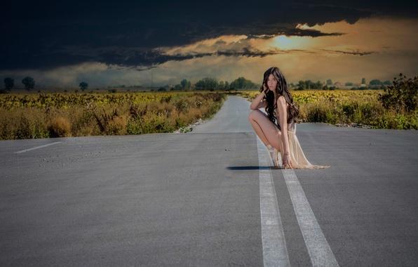 Картинка дорога, небо, тучи, девочка, балерина, пуанты