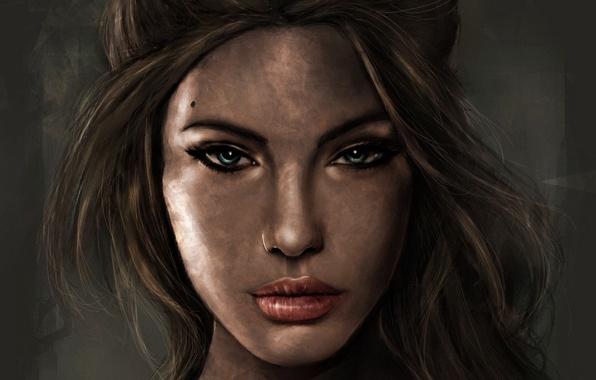 Картинка взгляд, девушка, лицо, волосы, портрет, арт, Tomb Raider, Lara Croft