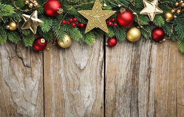 Картинка звезды, украшения, ветки, шары, елка, Новый Год, Рождество, Christmas, wood, decoration, Merry