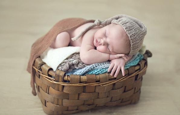Картинка корзина, ребенок, сон, малыш, шапочка, младенец