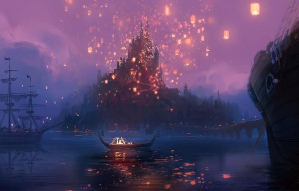 Картинка ночь, мост, огни, река, замок, лодка, рисунок, мультфильм, корабли, арт, фонари, Рапунцель, Tangled, Флинн, Rapunzel, …