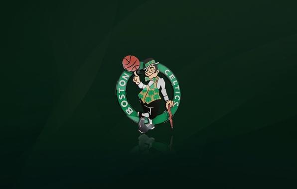 Картинка Зеленый, Баскетбол, Фон, Логотип, Бостон, NBA, Boston Celtics