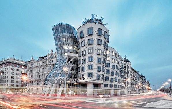 Фото обои Czech Republic, cityscape, architecture, Prague, design, The Dancing House