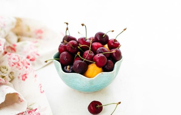 Картинка вишня, ягоды, черешня, салфетка, абрикосы, креманка, Julia Khusainova