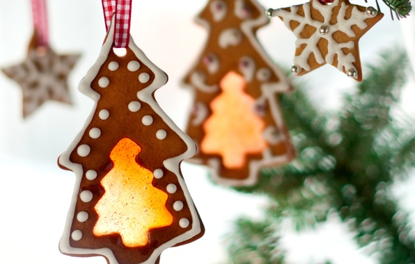 Картинка звезды, ветки, елки, Новый Год, печенье, Рождество, сладости, Christmas, фигурки, выпечка, праздники, елочки, New Year, …