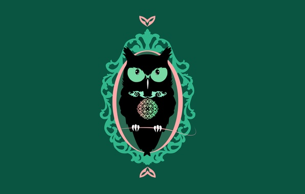 Картинка темный фон, сова, птица, минимализм, owl