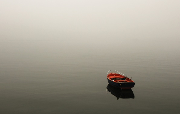 Картинка вода, пейзаж, природа, туман, озеро, река, лодка
