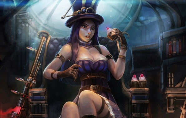 Картинка грудь, девушка, шляпа, ружье, cake, League of Legends, caitlyn, Sheriff of Piltover