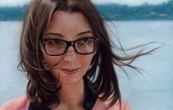 Картинка взгляд, девушка, улыбка, ветер, волосы, арт, очки