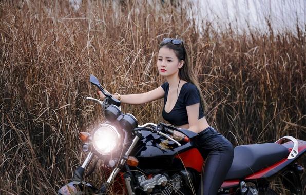 Картинка девушка, стиль, мотоцикл, байк, азиатка