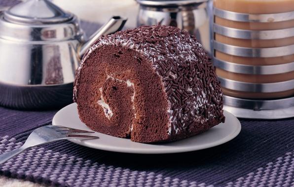 Картинка еда, шоколад, пирожное, крем, десерт, выпечка, сладкое, бисквит, рулет, обсыпка
