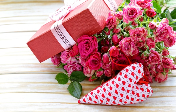 Картинка коробка, подарок, розы, love, бант, heart, pink, flowers, romantic, Valentine's Day, gift, roses