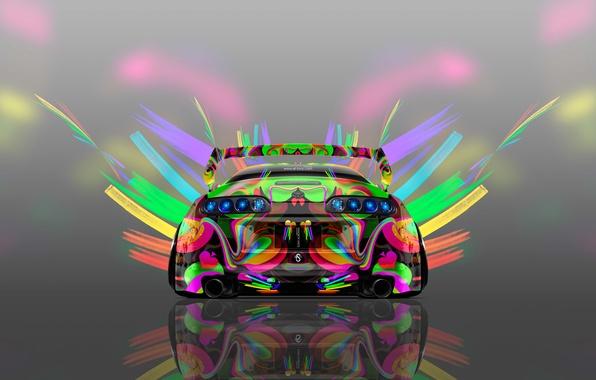 Картинка Авто, Дизайн, Неон, Машина, Яркая, Стиль, Серый, Обои, Фон, Toyota, Арт, Art, Абстракт, Photoshop, Фотошоп, …