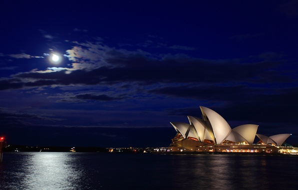 Картинка море, ночь, луна, Австралия, дорожка, Сидней, Australia, Sydney, Opera House, Harbour Bridge
