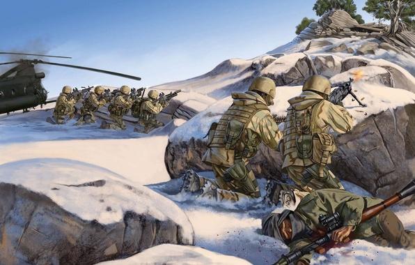 Картинка рисунок, гора, бой, вершина, США, вертолёт, подбитый, Афганистан, боевики, сил, быстрого, 4 марта 2002года, Такур …