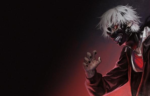 Картинка аниме, маска, арт, парень, tokyo ghoul, kaneki ken