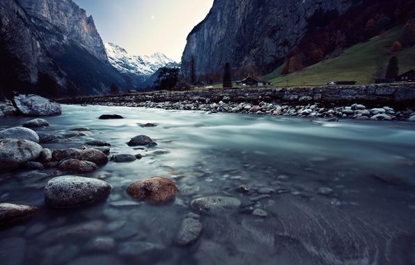 Картинка горы, река, Швейцария, домики, Switzerland, Lauterbrunnen, Лаутербруннен