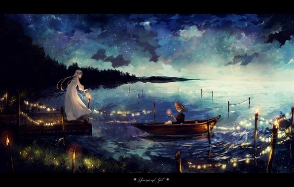 Картинка небо, девушка, звезды, облака, ночь, озеро, лодка, шляпа, аниме, арт, фонарь, парень, гирлянда, canarinu