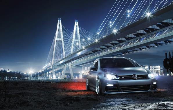 Картинка Volkswagen, Car, Front, Bridge, Night, Golf R, Low