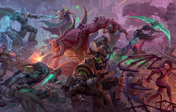 Картинка starcraft, diablo, warcraft, Zeratul, sarah kerrigan, thrall, Heroes of the Storm, illidan stormrage, Kael'thas, tychus
