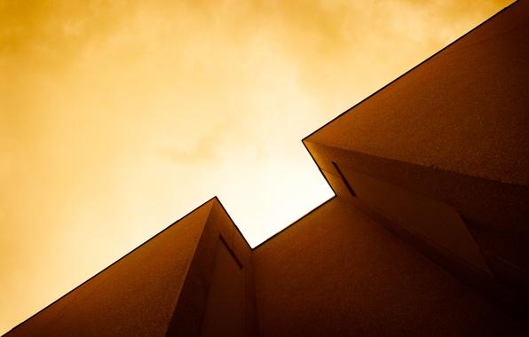 Картинка небо, свет, дом, стена, угол
