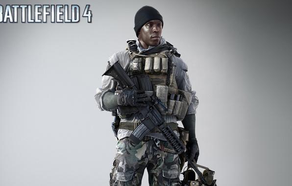 Картинка оружие, шапка, солдат, боец, винтовка, экипировка, бронежилет, обойма, Electronic Arts, Battlefield 4, EA Digital Illusions …