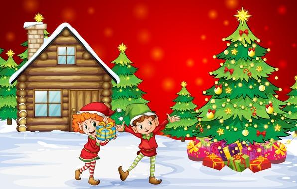 Картинка снег, счастье, дети, vector, новый год, дома, рождество, вектор, мальчик, девочка, подарки, girl, house, christmas, …