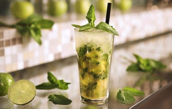 Картинка стакан, лёд, коктейль, лайм, glass, ice, напиток, мята, Мохито, drink, mojito, cocktail, lime, spearmint