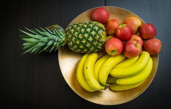 Картинка фон, widescreen, обои, яблоки, еда, тарелка, wallpaper, фрукты, ананас, банан, широкоформатные, background, полноэкранные, HD wallpapers, …