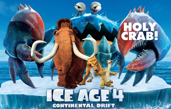 Картинка краб, айсберг, ленивец, Диего, Сид, мамонт, movie, pirates, анимация, animated film, Ice age 4, Diego, …