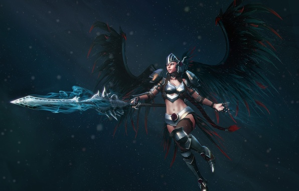 Картинка рендеринг, оружие, крылья, меч, доспехи, шлем, броня, валькирия