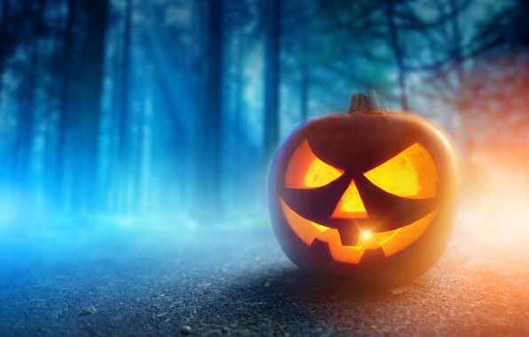 Картинка осень, лес, ночь, Halloween, тыква, Хэллоуин, smile, face, holiday, pumpkin