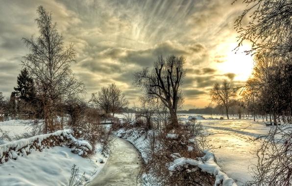 Картинка зима, небо, облака, снег, деревья, пейзаж, закат, природа, река