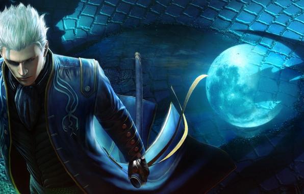 Картинка ночь, луна, демон, полнолуние, devil may cry, vergil, полукровка, Devil May Cry 4: Special Edition